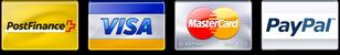 We accept Visa, MasterCard, PostFinance, and Paypal